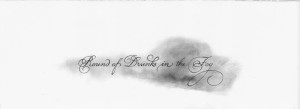 "Amanda Manitach ""Ronde de pochards dans le brouillard (after Alphonse Allocis)"" $250, graphite on paper 11x30"