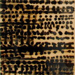 "Cait Willis ""White Noise/Black Box 3 (Stadium)"" acrylic and resin on panel, 8""x8"" $100"