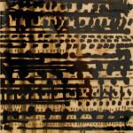 """Cait Willis """"White Noise/Black Box 4 (Jog)"""" acrylic and resin on panel, 8""""x8"""" $100"""