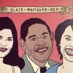 "Derek Erdman ""Untitled (Blair, Whitaker, Balk)"" acrylic and latex on wood with epoxy resin, 20x24 $170"