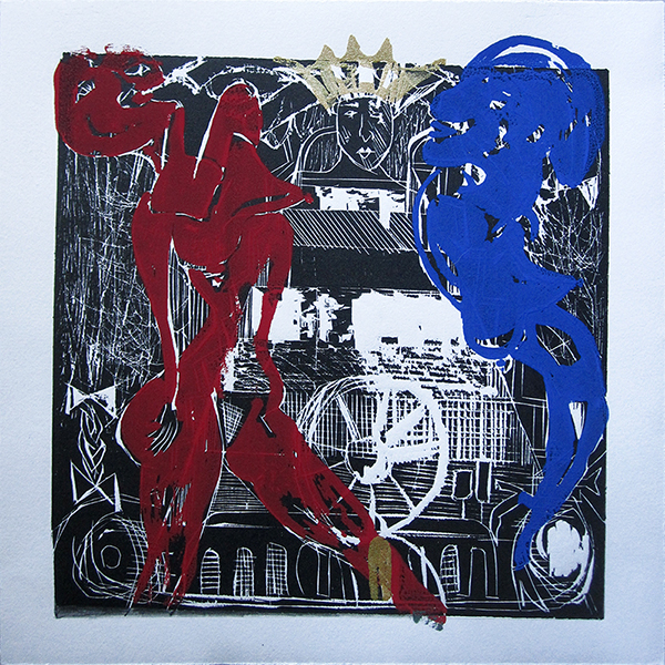 "Enrique Figueredo ""American King"" woodcut, silkscreen, colored pencil, 12x12 $250"