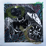 "Enrique Figueredo ""Chariot Baby 1"" $250 woodcut, silkscreen, colored pencil 12x12"