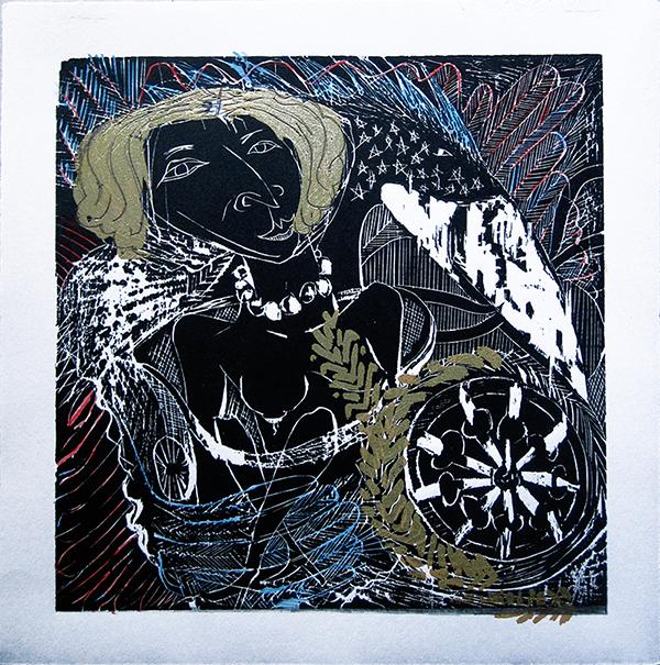 """Enrique Figueredo """"Chariot Baby 2"""" woodcut, silkscreen, colored pencil, 12x12 $250"""