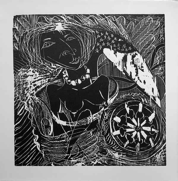 """Enrique Figueredo """"Chariot Baby """" woodcut, silkscreen, colored pencil, 12x12 $250"""