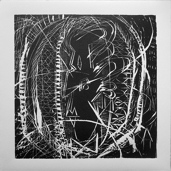 "Enrique Figueredo ""Heads or Tails"" woodcut, 12x12 $200"