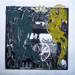 "Enrique Figueredo ""South American King"" $250 woodcut, silkscreen, colored pencil 12x12"