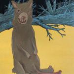 "Jody Joldersma ""Uncle Geoduck"" $150, acrylic and paper on wood 9x12"