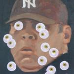 "Margot Bird ""Eyeball Painting #20"" $150, acrylic on wood 12x9"