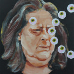 "Margot Bird ""Eyeball Painting #29"" $150, acrylic on wood 12x9"