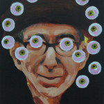 "Margot Bird ""Eyeball Painting #31"" $150, acrylic on wood 12x9"