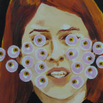"Margot Bird ""Eyeball Painting #39"" $150, acrylic on wood 12x9"