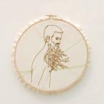 """Mary Elise Bolam """"29 Point Buck"""" cloth, cotton thread, 7.5 diameter $150"""
