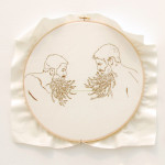 "Mary Elise Bolam ""Rutting Season"" cloth, cotton thread, 12.5 diameter $250"
