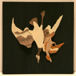 "Michael Alm ""One Goose and One Duck"" wood veneer, 8x8 $200"