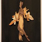 "Michael Alm ""Four Birds and a Hare"" $200wood veneers	13x7"