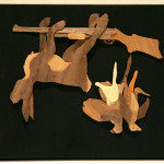 "Michael Alm ""Two Birds and a Hare"" $200 wood veneers 13x7"